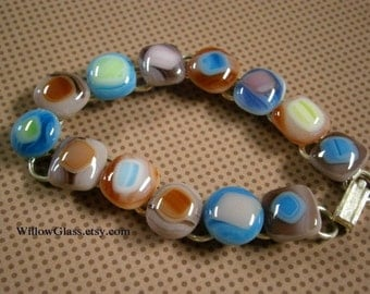 Fused Glass Bracelet in Tie Dye Multicolor Queen Size by Willowglass, Glass Jewelry, TieDyed