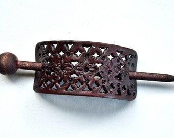 Leather Hair Accessory, Leather Hair Stick, Pony Tail Cover,