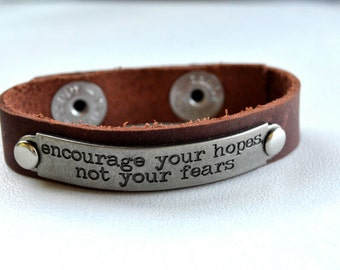 Inpirational Word or Saying Bracelet with Metal Plate on Leather Band