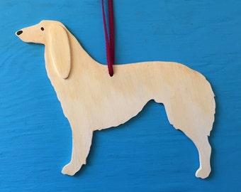 Saluki Blonde Hound Dog  - Handpainted Wood Ornament Decoration