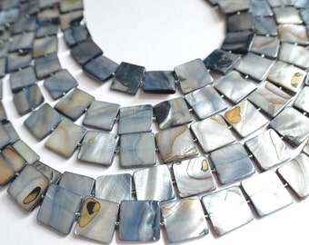 The Tegan- Steel Blue Mother of Pearl Statement Necklace