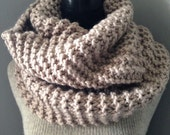 Pale Linen Knit Cowl, Extra Large Chunky Knitted Capelet Cowl, Pale Taupe Wrap