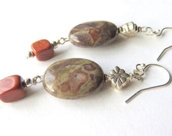 Oval Jasper Gemstone Earrings, Sterling Silver Jasper Earrings, Brown Earthtones , Long Gemstone Boho Earrings, Natural Gemstone Jewelry