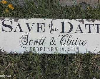 Personalized Save The Date Sign | Engagement Sign | We're Engaged! |  Engagement Photo Props | Engagement Photo Idea | Wedding Sign | Rustic