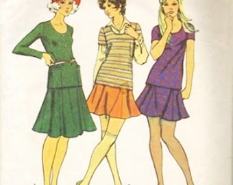 Simplicity 5074 Misses Mini Skirt, Top 70s Vintage Sewing Pattern Size 14 Bust 36 Tow-Piece Dress