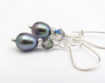Freshwater Pearl Earrings Petite Dangle Sterling Silver Minimal Modern Pearls