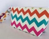 Chevron wristlet  makeup bag  medium size  cosmetic purse  clutch purse  zipper pouch