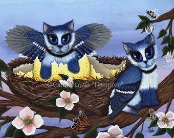 Cat Blue Jay Art Kittens Bluejay Bird Cats Winged Fantasy Cat Art Print 12x16 Art For Cat Lovers Gift