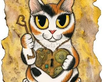 Cat Steampunk Art Cat Painting Valentine Victorian Heart Locket Big Eye Cat Art Limited Edition Canvas Print 8x10 Cat Lovers Art