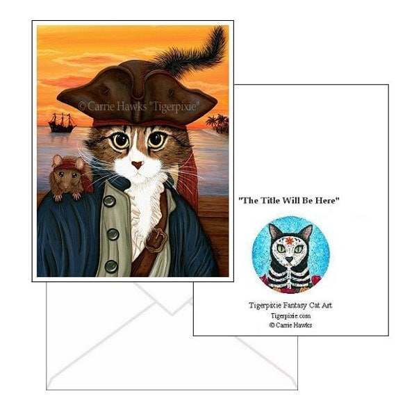 Pirate Cat Cards Rat Captain Leo Pirate Ship Sunset Gothic Fantasy Cat Art 2 Note Cards Set Cat Lovers Gift