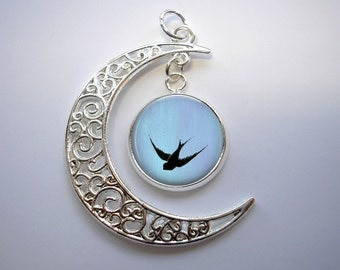 Swooping Bird - Crescent Moon Pendant with Image Charm - Pendant Necklace - Optional Chain in 3 Lengths, Bird Necklace