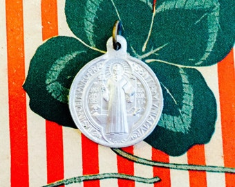 VINTAGE BENEDICT MEDAL Small Religious Old Soldered Bail France