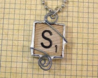 Scrabble Letter S Pendant Necklace
