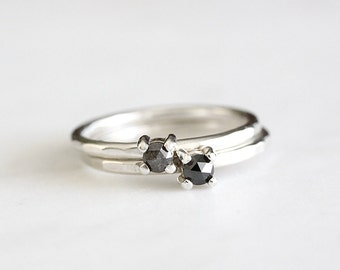 black rose cut diamond sterling silver ring, handmade