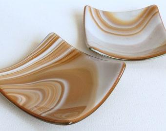 Smaller Pair of Brown Swirl Handmade Fused Glass Dishes, Smokeylady54