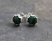 Malachite studs, Gemstone Stud Earrings, Gemstone Post Earrings, Green earrings
