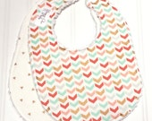 Baby Bibs for Girl  - Set of 2 Triple Layer Chenille  - Gold Triangles, Pink, Mint, Coral Chevron  - GOLD, MINT & CORAL