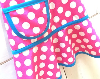 Kids Apron, Little Girls Apron, Child Apron, Toddler Apron,Teen Apron,  Hot Pink and Aqua, Polka Dots  - PINK & AQUA DOTS