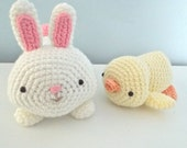 Sale - Amigurumi Crochet Bunny and Chick Easter Pattern Set Digital Download