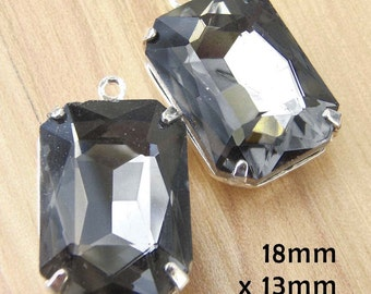 Black Diamond Glass Beads, Silver Plated Brass Settings, 18mm x 13mm, Octagon, Glass Gems, Rhinestone, Cabochon, Glass jewels, One Pair