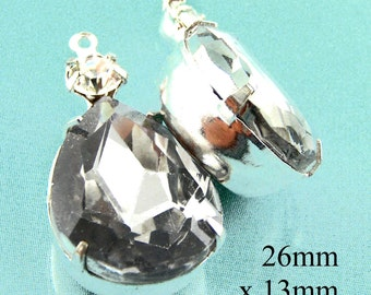 Black Diamond Glass Beads, Silver Plated Brass Settings, 26mm x 13mm, Teardrop, Choose Your Color, Glass Gems, 18x13 Pear, One Pair