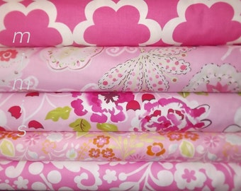 Dena Designs Fabric /  Tea Garden & Taza / 5 Half Yard Bundle/ PINKS - Cotton Quilt Fabric