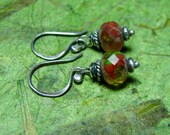 Flame - Czech Glass and Sterling Silver Earrings