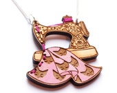 Sewing Machine Necklace- Wood laser cut illustration embroidered hand painted - pink
