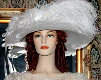 Ascot Hat Kentucky Derby Hat Wide Brim Tea Hat Titanic Hat Somewhere in Time Hat Downton Abbey Hat Edwardian White Hat Church - Lady Ophelia
