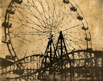 Ferris Wheel Roller Coaster. Original Digital Art Photograph. Wall Art. Wall Decor. Giclee Print. CARNIVAL SERIES I by Mikel Robinson