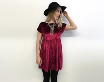 Velvet dress slouchy grunge dress loose babydoll crushed velvet 90s style dress short mini dress rolled sleeve