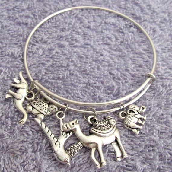 Animal Zoo Bracelet, Animal Bracelet, Animal Charms bracelet, zoo theme bracelet, Mixed Animal Charm Expandable Bracelet, Free Shipping USA