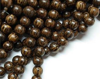 Wood Bead, Round 6mm, Old Palm - Five 16 Inch Strands