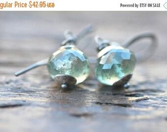 ON SALE Moss Aquamarine Earrings Sterling Silver Stormy Green Aquamarine Jewelry Green Earrings Green Gemstone Jewelry Gift for Her
