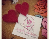Valentine's day red heart hair pins set of 2
