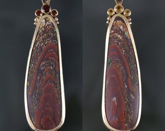 Reversible Koroit Boulder Opal 14K Yellow Gold Pendant with Golden and Fire Citrine Accent Stones s16p007