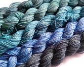 gradient yarn set - 125g (25g each skein) 440 yards total - hand-dyed merino fingering GABRIOLA