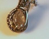Natural Diamond Quartz  & Patona Silver Wire Wrapped Pendant Necklace