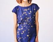 Metallic Gold Flock of Birds Dress
