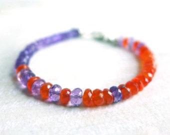 Amethyst Carnelian Gemstone Layering Bead Bracelet, Hot Orange Purple Gemstone Yoga Bracelet