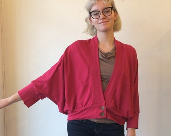 Sale was 140. 30s style Bolero, Bamboo Blend French Terry, Rouge