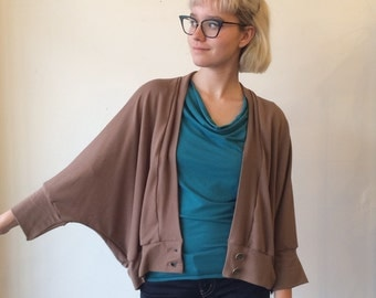 Sale was 140. 30s style Bolero, Bamboo Blend French Terry, Mocha