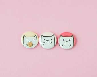 Cookie Cat, Excited Cat, Angry Cat • Set of 3 one inch pinback buttons