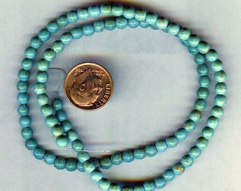 "NEW 6mm Beautiful Magnesite Turquoise Round Beads 16"" Strand"