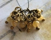 Yellow Agate Seedling Bead Charms - 1 Pair