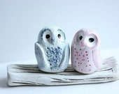 Owl Cake Topper - Clay Owls - Miniature Hand sculpted Clay Owls - Miniature Animal Totem Small