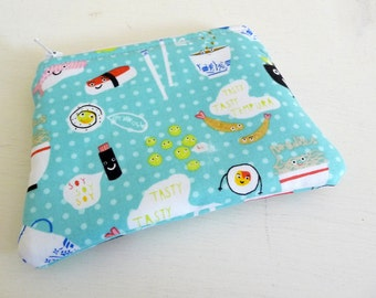 Yeah Sushi Small Zippered Pouch, Small Aqua Cosmetics Bag