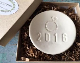 Engagement Ring Dish Engagement Ring Holder Engagement Gift Egnagement Gifts For Her 2016 Engaged Ring Bowl Ring Dish Ceramic