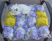 ON SALE-----Cat Bed, Puffy Quilt, Purple Cat Bed, Travel Cat Mat, Small Dog Bed, Handmade Pet Bed, Crate Mat, Biscuit Pet Quilt, Pet Blanket