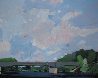 Squirrel Creek, Original Late Summer Plein Air Painting on Panel, Ready to Hang, Stooshinoff